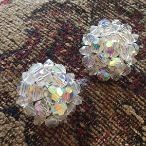 Jewelry - Vintage Iridescent Crystal Bead Clip On Earrings